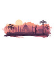 stylized landscape india with taj mahal an vector image vector image