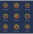 sun logo set isolated on blue background vector image vector image