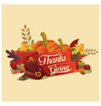 thanksgiving typography with ornament and item vector image