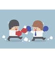Two businessmen having a fight with boxing gloves vector image vector image
