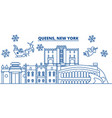 usa new york queens winter city skyline merry vector image vector image