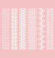 wide lace ribbons set on a pink background vector image vector image