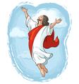 ascension of jesus raising hands in sky vector image
