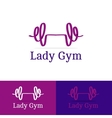 ribbon dumb-bell lady gym logotype Modern vector image