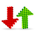 3d dotted up and down arrows vector image vector image