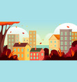 autumn cityscape or fall scenery in town banner vector image vector image