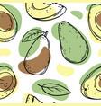 avocado pattern delicious fruit sketch seamless vector image