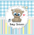 baby shower greeting card with bear vector image vector image