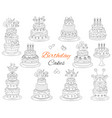 birthday cakes set hand drawn doodle vector image vector image