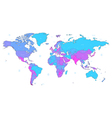 Blue and violet detailed World map vector image vector image