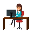 businesswoman working in computer vector image vector image
