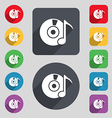 CD or DVD icon sign A set of 12 colored buttons vector image vector image