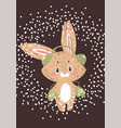 christmas poster wuth bunny vector image vector image