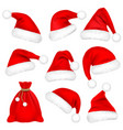 christmas santa claus hats with fur set bag sack vector image