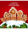 Christmas street with gingerbread home holly tree vector image