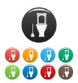 cleaning toilet icons set color vector image vector image