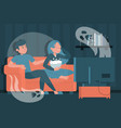 couple watching horror movie at home scared woman vector image vector image