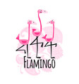 cute pink flamingos on floral background sketch vector image
