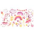 cute unicorn bagirl watercolor nursery vector image vector image