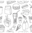 Doodle pattern fast food vector image vector image