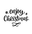 enjoy christmas phrase ink lettering vector image vector image
