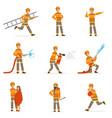 firefighters in orange uniform doing their job set vector image vector image