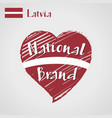 flag heart of latvia national brand vector image vector image