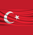 flag turkey fabric red background vector image