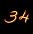 glowing light number three and four hand lighting vector image