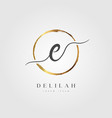 gold elegant initial letter type e vector image vector image
