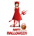 halloween design with girl in a demon costume vector image