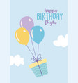 happy birthday flying gift box with balloons vector image