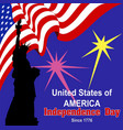 independence day america banner flag statue vector image