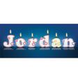JORDAN written with burning candles vector image