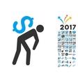 Money Courier Icon With 2017 Year Bonus Symbols vector image