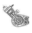 motocycle engine design isolated in black vector image