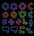 neon lights arrows symbol set on black vector image vector image