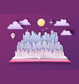open fairy tale book with urban city landscape vector image