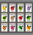 organic vegetables cards set farm eco vector image vector image