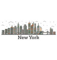 outline new york usa city skyline with color vector image vector image