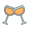 pair glasses cup champagne wedding icon vector image
