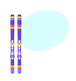 pairs of skis flat isolated vector image vector image