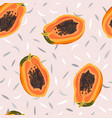 papaya fruits seamless pattern on pastel pink vector image vector image