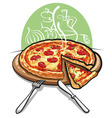 Pizza with salami vector | Price: 3 Credits (USD $3)