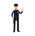 police officer character in a blue uniform with vector image vector image