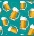 realistic detailed 3d beer mug seamless pattern vector image