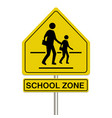 school zone sign on a white background vector image vector image