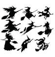 set black silhouettes witches flying on a vector image vector image