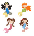 set of cute girl mermaids set of cute girl vector image vector image