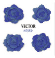 set of four paper blue roses vector image vector image